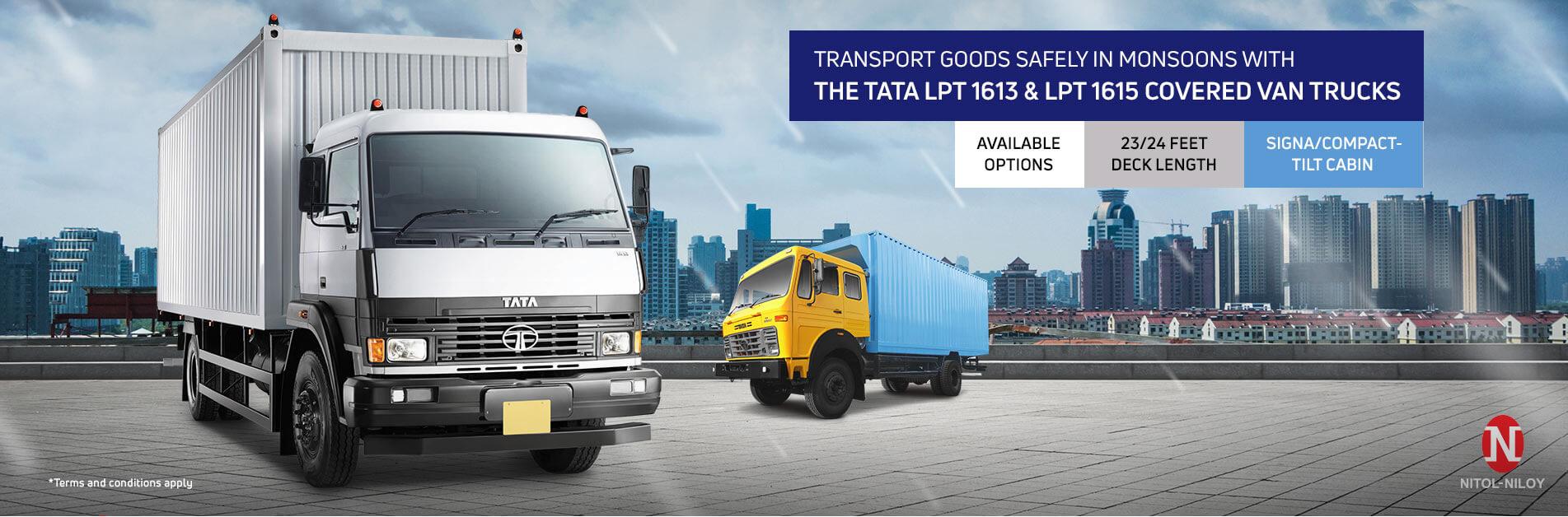 Tata LPT 1613 & LPT 1615 Covered Van Cargo Trucks